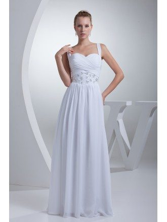 Pleated Sequins Long Chiffon White Wedding Dress with Straps