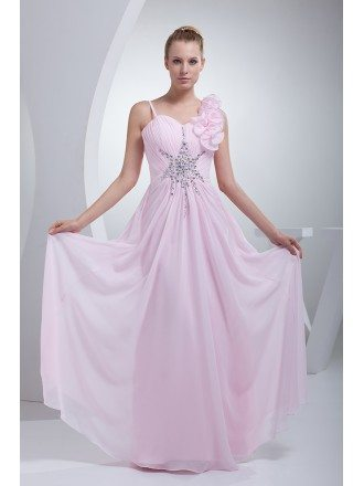 Pearl Pink Long Chiffon Floral Prom Dress with Beading