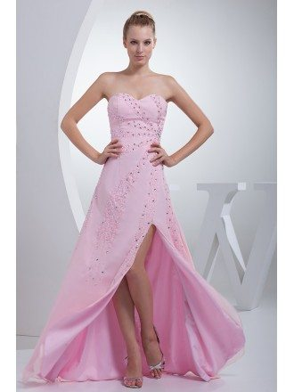 Pink Split Front Sweetheart Long Prom Dress with Beading