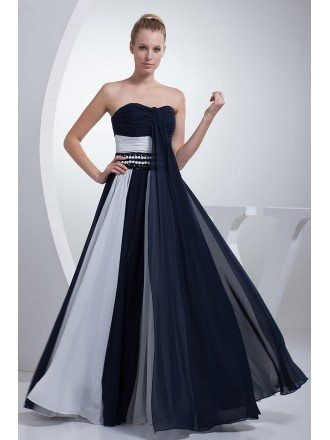 Chic Blue and White Two Colors Long Prom Dress