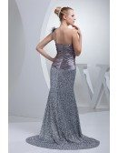 Sparkly Silver Sequins Pleated Split Front Prom Dress