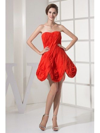 Coral Strapless Flowers Hemline Pleated Formal Dress