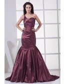 Grape Purple Pleated One Strap Mermaid Prom Dress