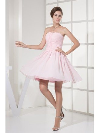Simple Short Pink Strapless Chiffon Party Dress