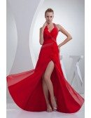 Sequined Red Sexy Long Halter Prom Dress with Split Front