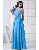 Blue Floor Length Long Chiffon Mother of Bride Dress Lace Sleeve