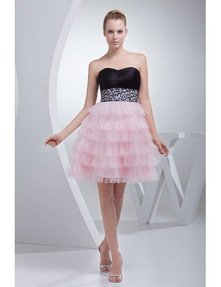 Sweetheart Black and Pink Puffy Short Prom Dress with Embroidery