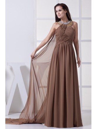 Sequined Long Halter Exotic Brown Chiffon Prom Dress