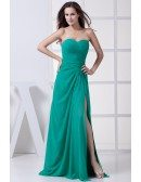 Turquoise Sweetheart Split Front Prom Dress Pleated