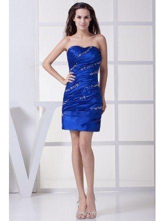 Royal Blue Sequins Pleated Short Bridal Party Dress