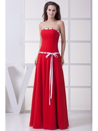 Red with White Sash Long Chiffon Bridesmaid Dress Strapless