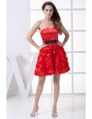 Cute Red and Black Handmade Flowers Short Party Dress