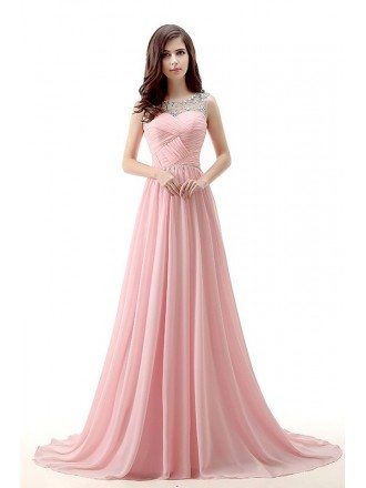 A-Line Scoop Neck Chaple Train Chiffon Prom Dress With Ruffle Beading