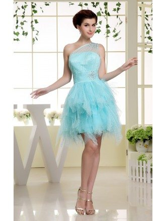A-line One-shoulder Short Tulle Prom Dress With Cascading Ruffle