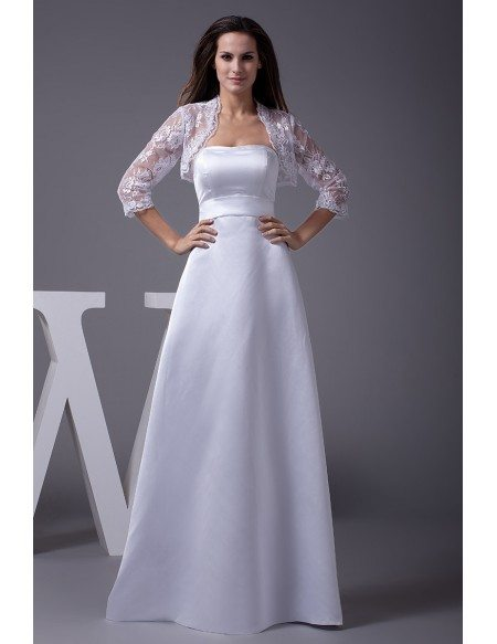 A-line Long Satin Strapless Wedding Dress with Lace Jacket