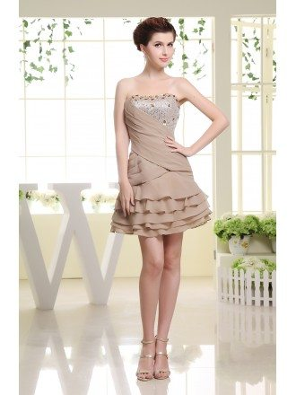 A-line Strapless Short Chiffon Prom Dress With Sequins