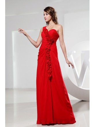 A-line One-shoulder Floor-length Chiffon Bridesmiad Dress