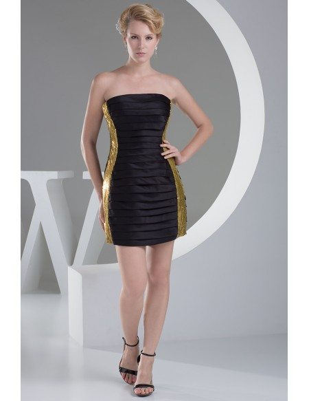Little Black and Gold Strapless Pleated Cocktail Dress