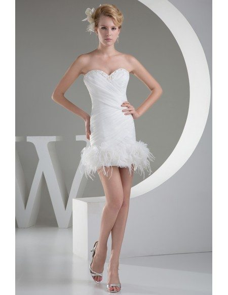 Cute Short Sweetheart Pleated Wedding Dress with Flowers