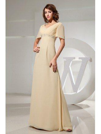 Empire V-neck Floor-length Chiffon Evening Dress With Beading