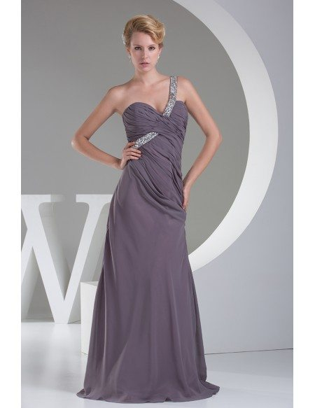 Classic Sequined One Shoulder Long Prom Dress Custom