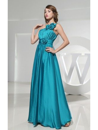 A-line One-shoulder Floor-length Satin Evening Dress With Ruffle