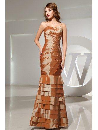 Mermaid Strapless Floor-length Satin Prom Dress With Beading