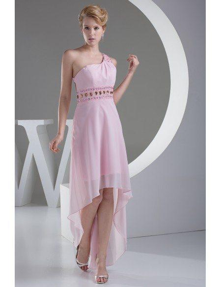 Pink Beaded One Shoulder Aline Asymmetrical Prom Dress
