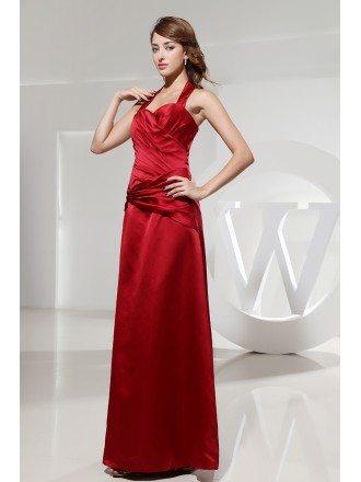 A-line Halter Floor-length Satin Evening Dress With Ruffle