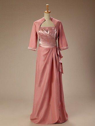 A-Line Scoop Neck Floor-Length Silk Satin Dress With Beading