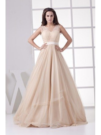 Modern Champagne Long Tulle A-line Formal Dress Custom