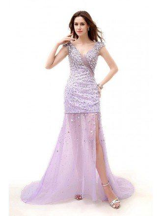 Sheath V-neck Sweep Train Chiffon Prom Dress With Beading Sequins