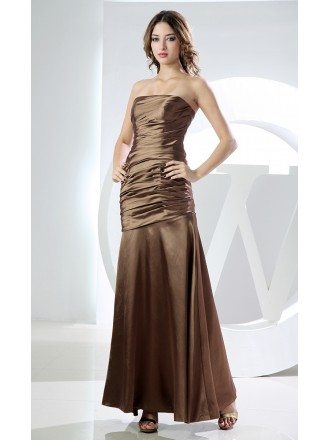 Mermaid Strapless Ankle-length Satin Evening Dress