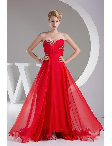 Sweetheart Beaded Long Chiffon Prom Dress Custom