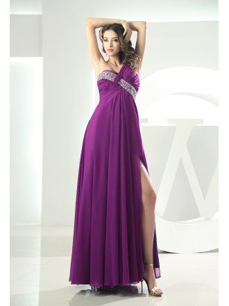Sheath One-shoulder Floor-length Chiffon Evening Dress With Beading