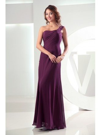 Sheath One-shoulder Floor-length Chiffon Bridesmaid Dress