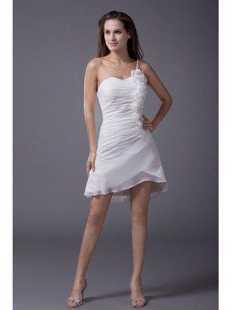 Little White Flowers One Strap Short Wedding Dress