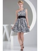 Leopard Printed Short Party Dress with Floral Sash