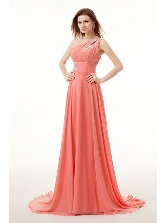 A-Line One-Shoulder Sweep Train Chiffon Prom Dress With Beading Appliques Lace