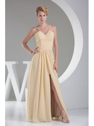 Yellow V-neck Split Front Chiffon Long Formal Dress