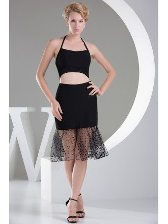 Little Short Two-piece Halter Black Prom Dress