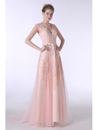 A-Line V-neck Sweep Train Tulle Prom Dress With Appliques Lace