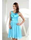 A-line Scoop Neck Short Chiffon Bridesmaid Dress