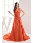 Coral Taffeta Long Halter Mermaid Prom Dress with Train