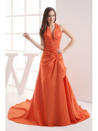 Coral Taffeta Long Halter Mermaid Prom Dress with Train