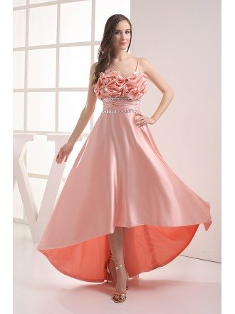 Pink Silky Satin High Low Prom Dress with Straps