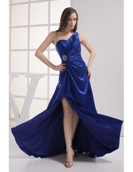 Royal Blue Split Front Classic Sleek Satin Prom Dress