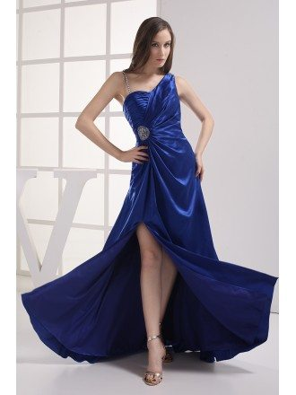 Royal Blue Split Front Classic Sleek Satin Prom Dress
