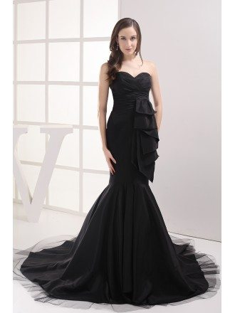 Formal Black Mermaid Long Prom Dress Custom