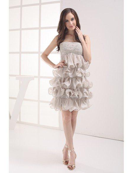Strapless Grey Beaded Chiffon Ruffles Prom Dress